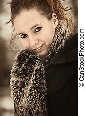 Brownish portrait of beauty in winter coat - Beatiful...