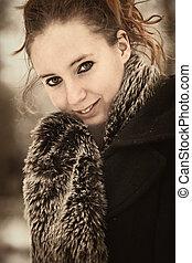 Brownish portrait of beauty in winter coat - Beatiful...