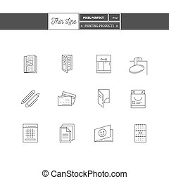 Thin line icon set of Printing objects, corporate identity...
