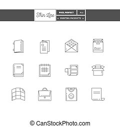 Thin line icon set of printing objects elements Print...