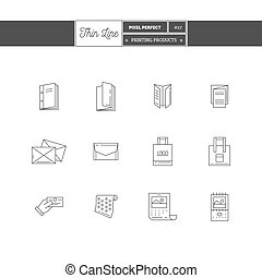 Thin line icon set of vacation summer travel, summer...