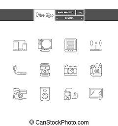 Thin line icon set of devices objects and tools elements. Devices interface icons, laptop, computer, mobile phone, tv, loudspeakers and photographic equipment.