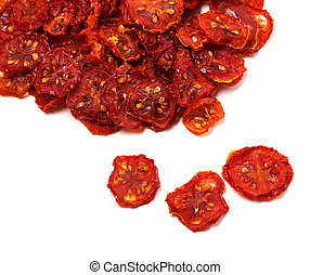 Dried slices of tomato Isolated on white background