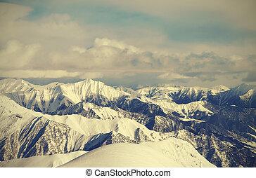 View from ski slopes Caucasus Mountains, Georgia, region...