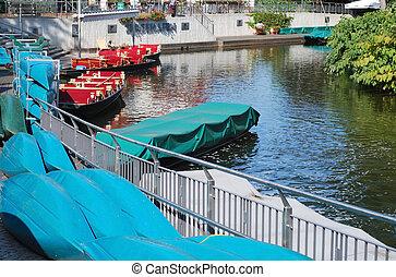 burg spreewald - harbor in burg, spreewald, germany