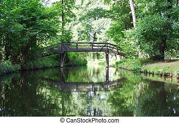 spreewald bridge - picturesque view on a bridge uin...