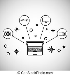 set of technology icons design, vector illustration -...