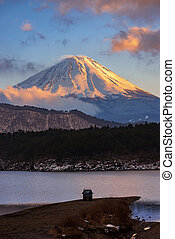 Mount Fuji in sunset at Lake Saiko in Winter, Japan