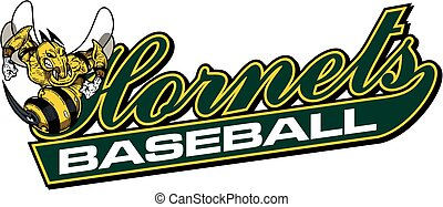 hornets baseball team design in script with tail for school,...