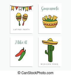 Set of hand drawn mexican cards for invitations or...