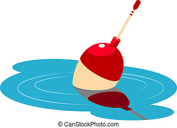 Fishing float floating in the water Vector illustration Over...
