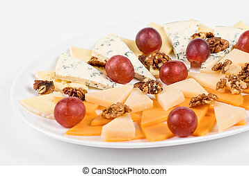 Cheese and grapes and nuts - different cheese and grapes and...