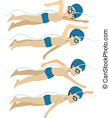Swimming Man Free Stroke Style - Set with athlete man...