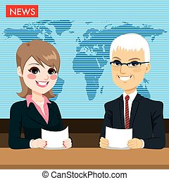 Anchors Reporting News - Male and female newcaster anchors...