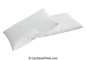 two white pillows, 3D rendering - white pillow, 3D rendering...