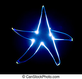 Blue star Speed light painting Freeze Light