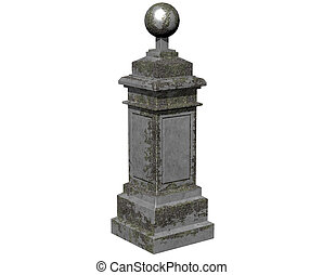 Stone column on white background.3D Rendering.Illustration