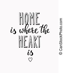 Home is where the heart is vector lettering. Motivational...