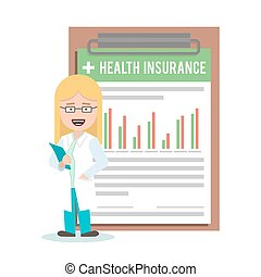 woman doctor, nurse on the background of health insurance form