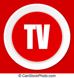 tv red flat design modern web icon