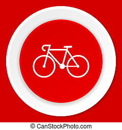 bicycle red flat design modern web icon
