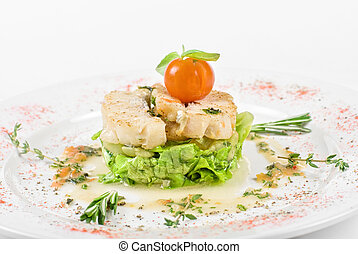 roasted filet halibut - Salad of roasted filet halibut at...
