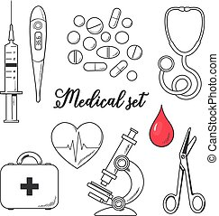 Set of medical icons isolated, line sketch