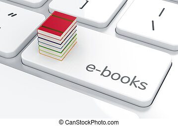E-books concept - Computer keyboard white button with books...