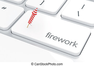 Computer white keyboard button with firework rocket concept...