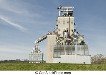 Grain Elevator - Horizontal shot of a grain elevator in a...