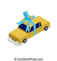 Isometric taxi car - Isometric yellow taxi car with blue...