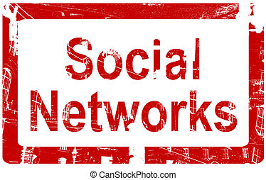 Social Networks - Red Rubber stamp icon with the words -...