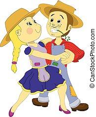 June Party Dancing Couple - Couple dancing in a Festa Junina...