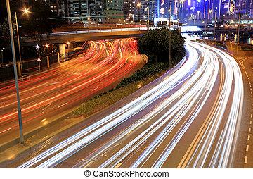 cidade, estrada, noturna
