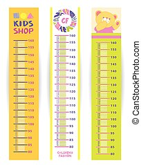 Set of children height meter wall vector illustration with...