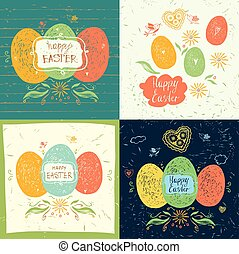 Set of easter hand lettering and doodles elements. Vector greeti