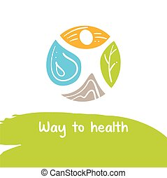 Way to health. Vector logo. Treatment and rest. Logo for the...