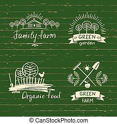 Set logos family farmLogo organic food Hand drawn element...