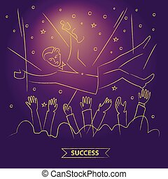 The award ceremony. Vector illustration. Linear gold sketch on c