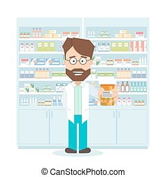 smiling pharmacist in pharmacy. shelves with medications. Flat isolated illustration