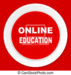 online education red flat design modern web icon