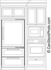 kitchen elevation line drawing, cab