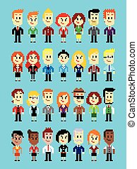 Pixel Art Business Man and Woman - Businessperson characters...