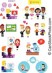 Pixel Art Office People Part 2 - 9 Cliparts about Office...