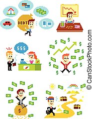Pixel Art Man and Money - 6 Cliparts about Man and Money:...