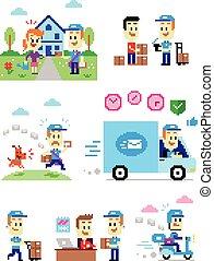 Pixel Art Postman - 7 Cliparts about Postman/Mailman:...