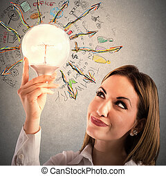 Business elaboration - Businesswoman looks at a lit light...