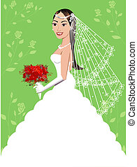Wedding Gown 5 - A beautiful brunette woman on her wedding...