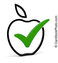 Healthy Eating - Fruit symbol with green check mark isolated...