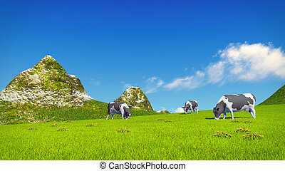 Mottled cows graze on alpine meadow - Farm landscape with a...